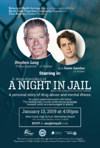 Flyer announcing the Staged Reading of A Night In Jail on January 13, 2019